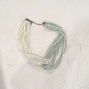 Anthropologie blue and white layered necklace